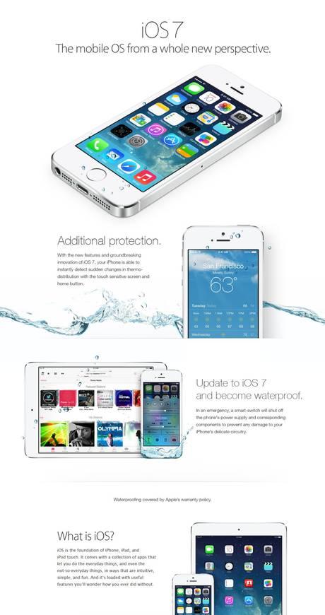 Finto annuncio Apple spinge utenti a credere che iOS7 rende i dispositivi impermeabili